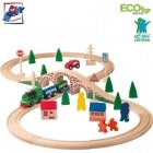 Woody 91121 Eco Wooden Eductional Figure of eight railway and car set with battery powered engine 1x AA (40pcs) for kids 3y+ (bu