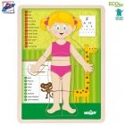 Woody 91925 Eco Wooden Educational Puzzle - Girl Human body - (EN version) (12pcs) for kids 3y+ (22.5x30x0.8cm)