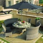 Set VOLTENA with cushions, table, 2 benches and 4 chairs, aluminum frame with plastic wicker, color: greyish beige